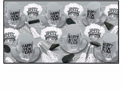 Silver New Years Eve party kit for 50 people with top hats, horns, tiaras, and noisemakers
