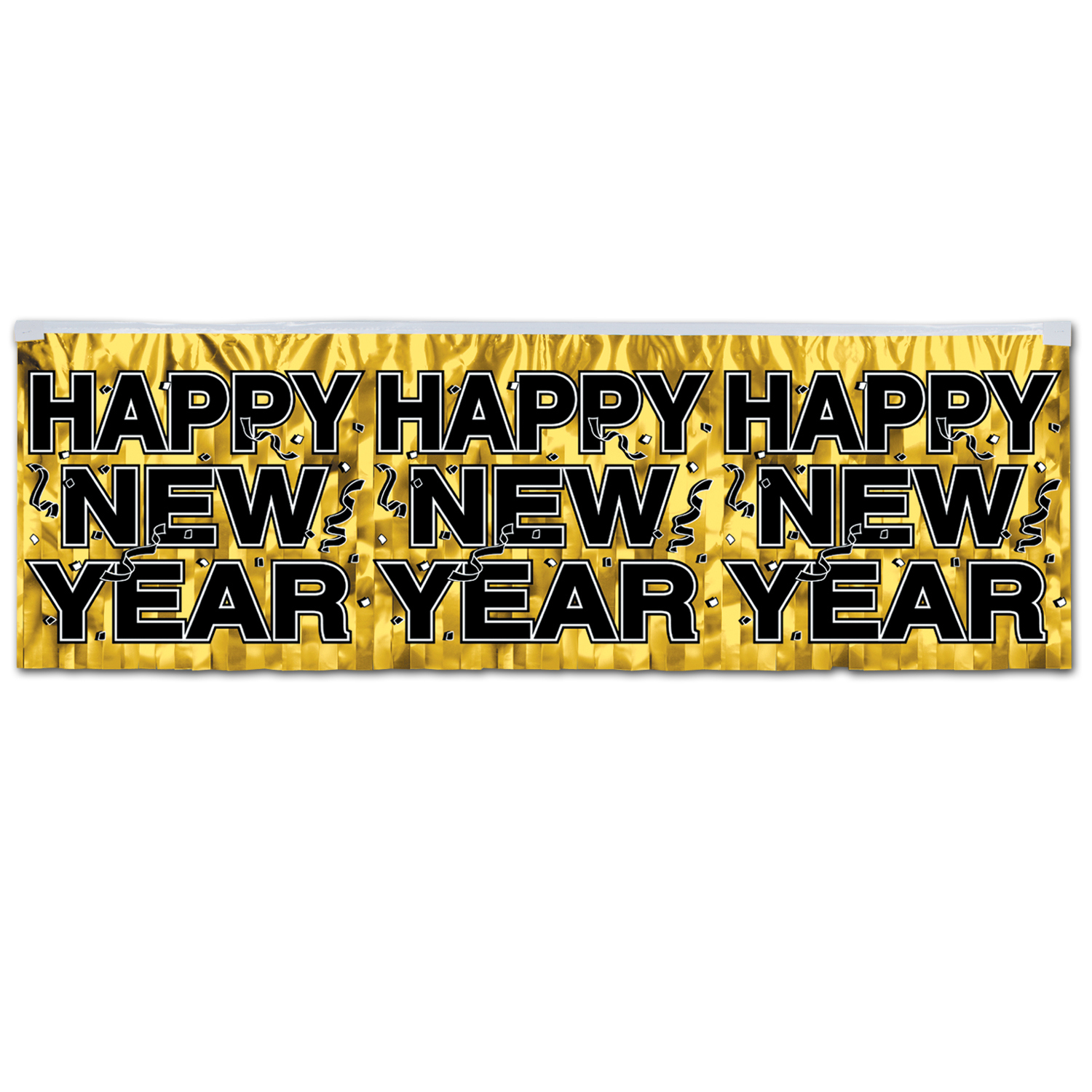 Gold metallic fringe banner with bold black Happy New Year lettering.