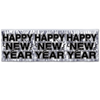 silver banner with happy new year on it in black text
