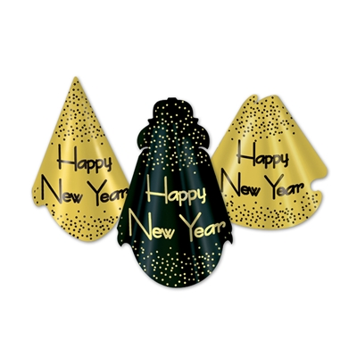 "Traditional party hats with a gold or black background that comes with confetti accents and the words ""Happy New Year""."