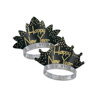"Black back ground tiara with gold confetti accents around the edges and the words ""Happy New Year""."