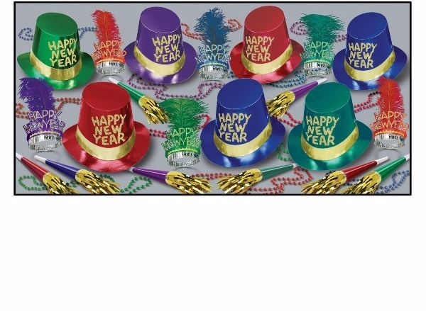 assorted color new years eve party kit with gold accents that shows hats, tiaras, horns, and beads