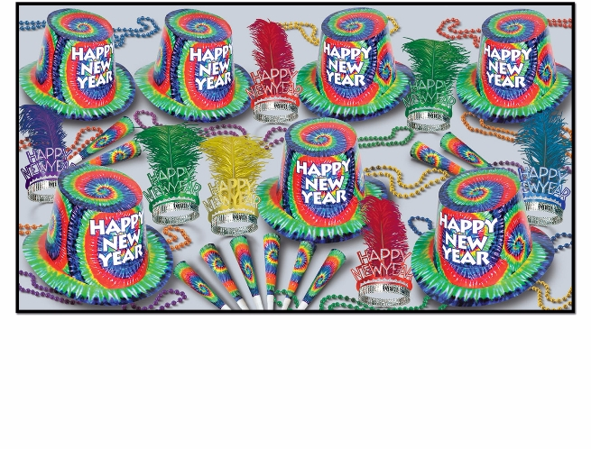1960s themed new years eve party kit with a tie dye design