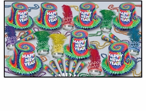 1960's themed new year's eve party kit with a tie dye design