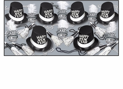black and white new years assortment that includes wearable items and noisemakers