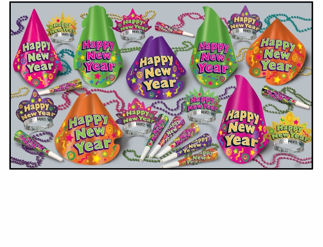bright colored party supplies for new years eve in a kit that has hats, tiaras, horns, and beads