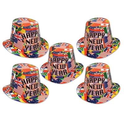 "Hi-Hat printed with international flags and the words ""Happy New Year""."