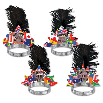 "Four different tiara shaped tops printed with international flags with the words ""Happy New Year"" and a black plume."