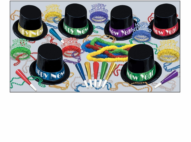 traditional assorted colored new years eve party kit with hats, noisemakers, tiaras, and beads