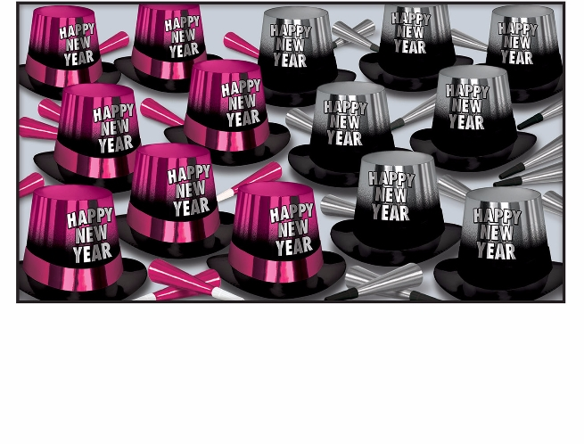 pink and silver new years eve party kit with 50 new years eve party hats