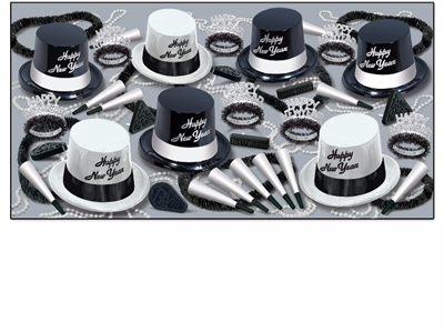 black and white new years eve party pack with plastic top hats, fringed tiaras, and noisemakers