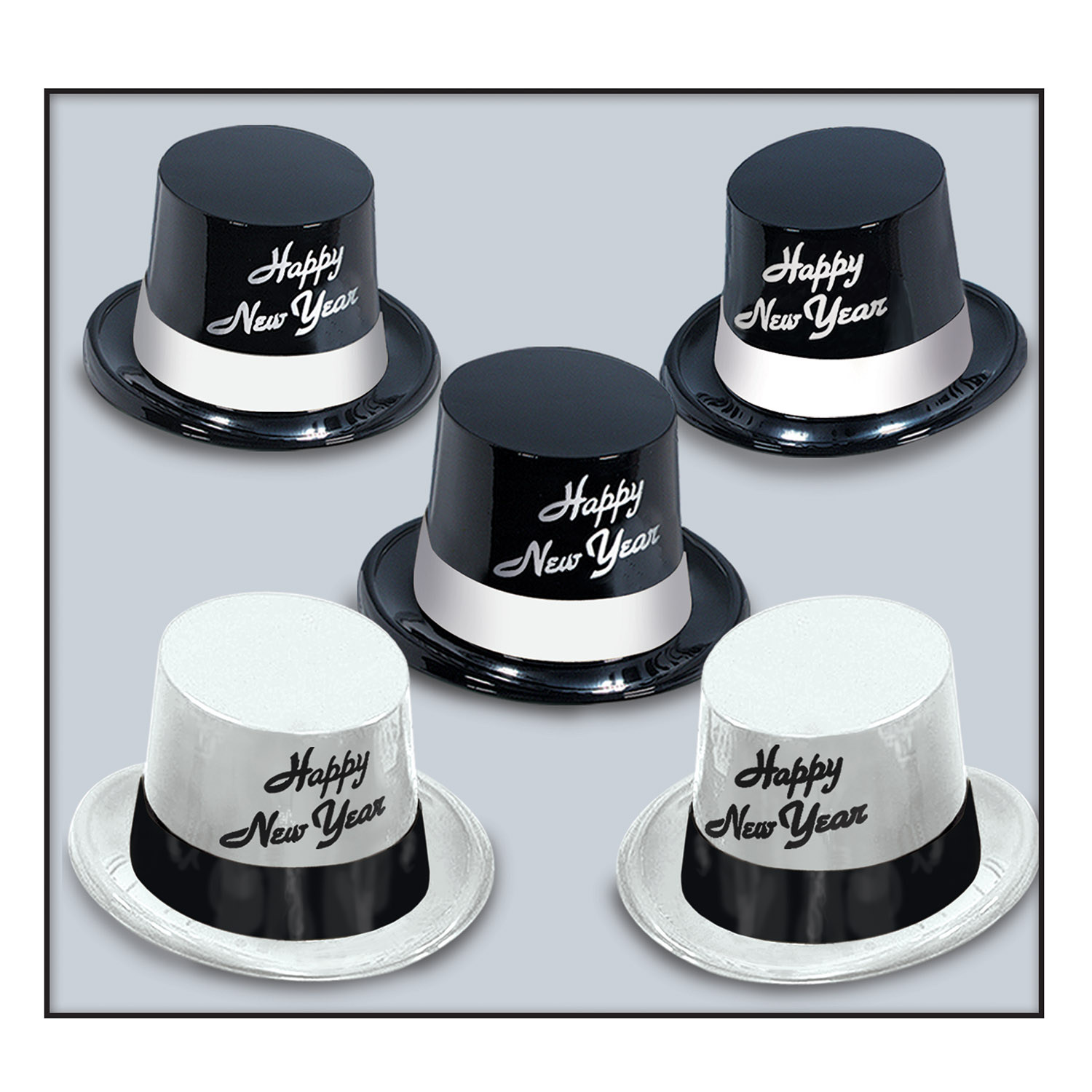 White and black legacy toppers made out of molded plastic. White hats have black bands and lettering while the black hats have white bands and lettering.