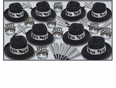 black and silver party kit for 50 people with 1920's style fedoras
