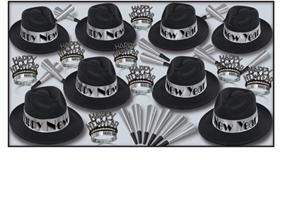 black and silver party kit for 50 people with 1920s style fedoras