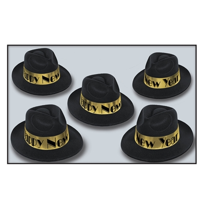 "Black plastic fedora with velour coating and a gold band that reads ""Happy New Year"" in black."