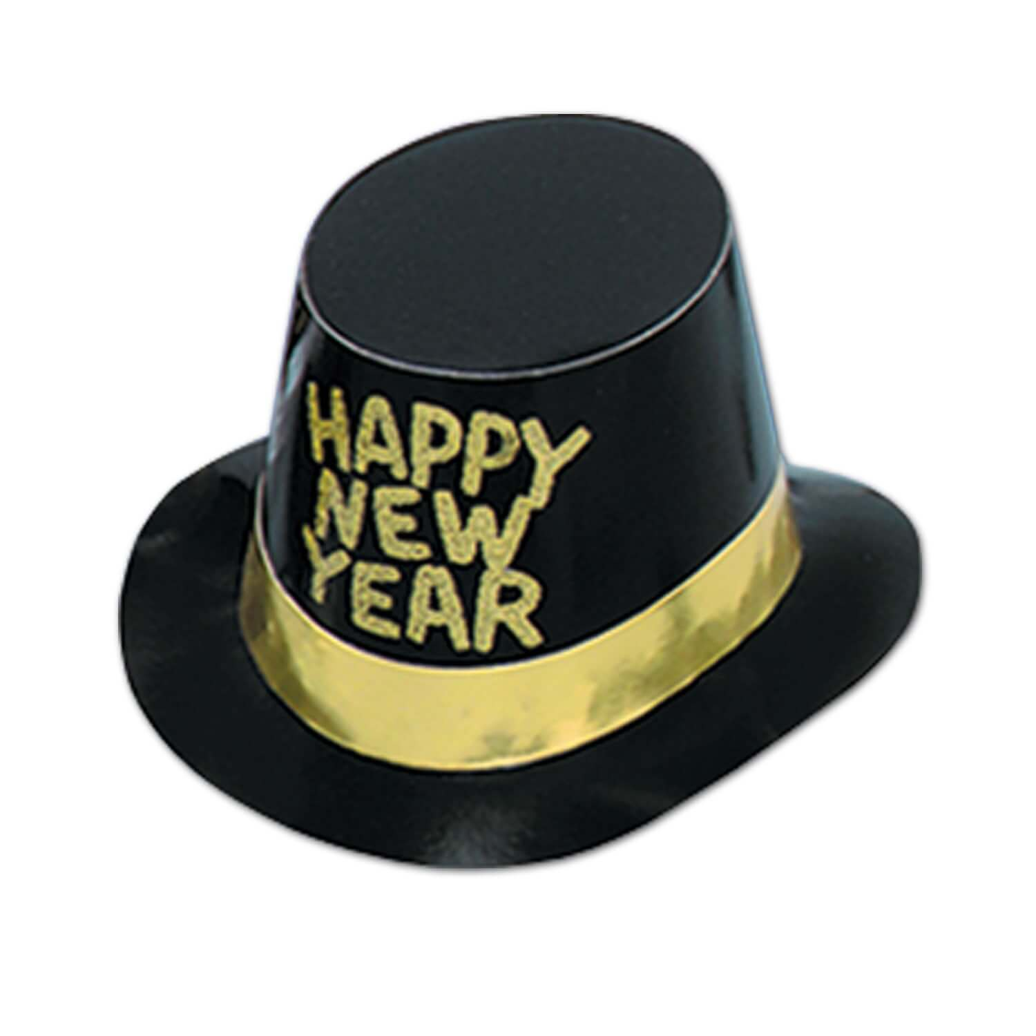 "Black hi-hat with a gold band and gold glitter words that read ""Happy New Year""."