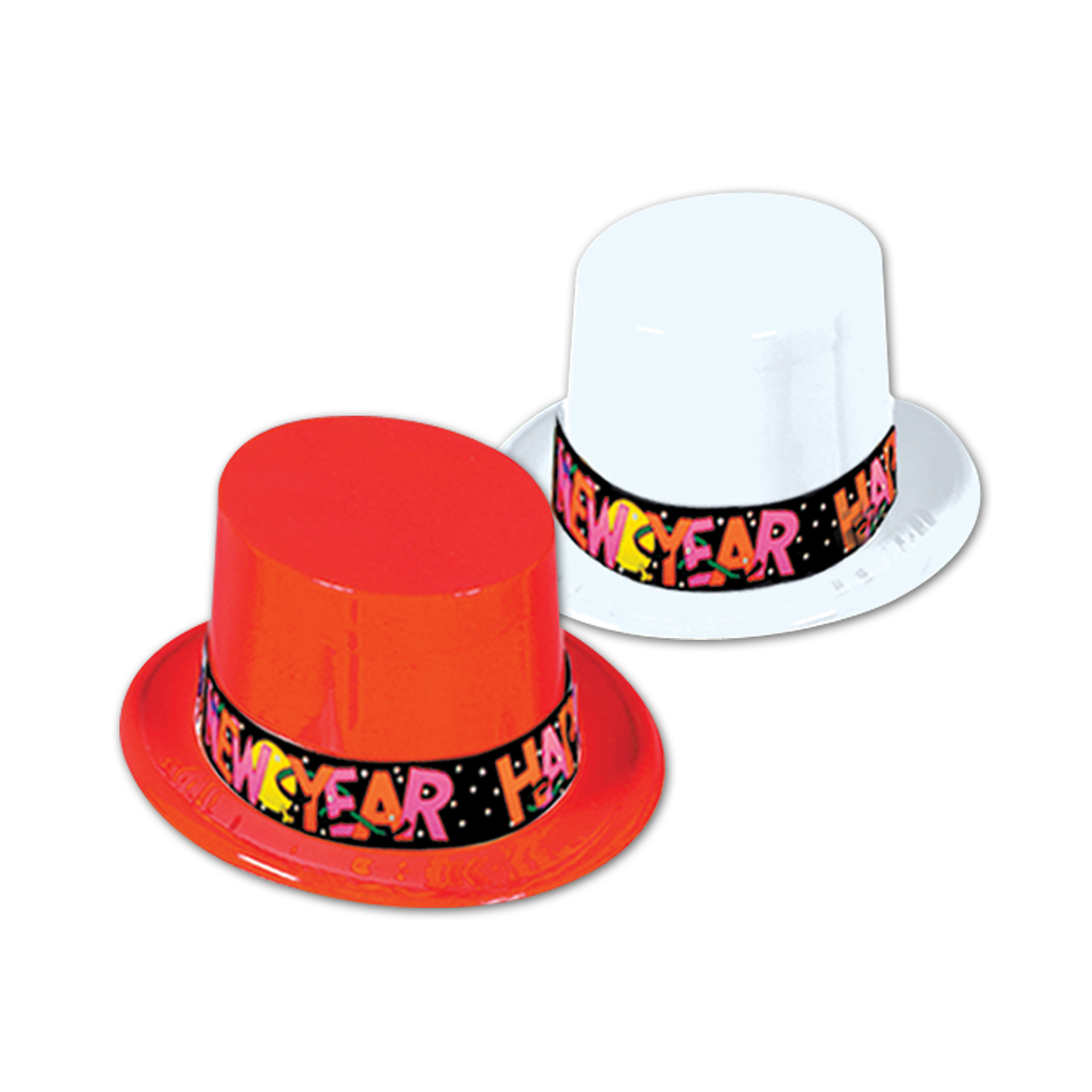 "Red and white plastic toppers with a black background band that reads ""Happy New Year"" in orange and pink."