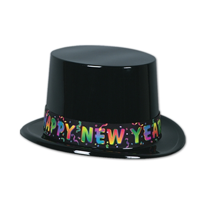 "Black plastic topper with a band filled with vibrant confetti and words that reads ""Happy New Year""."