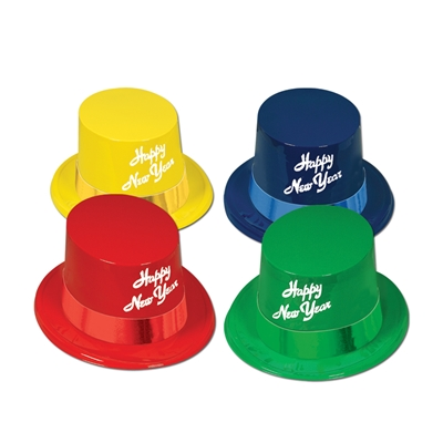 "Red, green, blue and yellow toppers with white ""Happy New Year"" printed on the front."