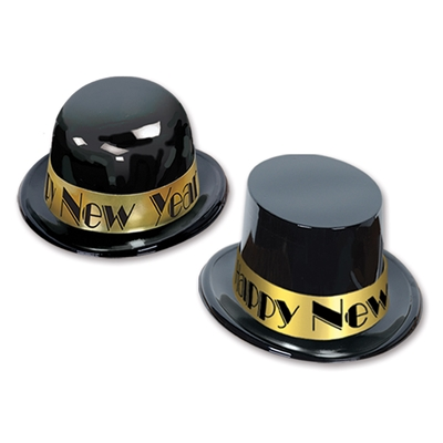 "Plastic black toppers and derbies with a gold band that reads ""Happy New Year"" in black."