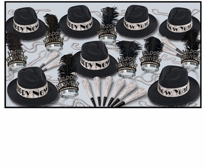 NYE Party kit for 50 with black fedoras with prismatic bands, feathered tiaras, hons, and beads