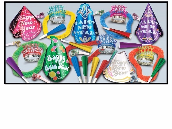old style looking new years eve party supplies with cone hats, noisemakers, and hawaiian leis