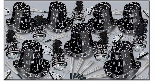 black & silver nye party kit with a star design on the hats and noisemakers