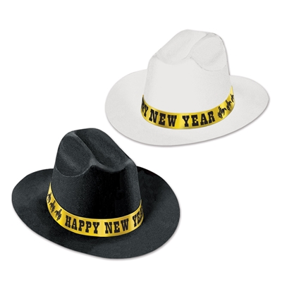 Black and white cowboy party hats with a gold happy new year band