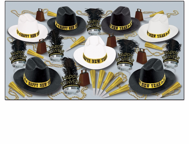 Western themed new years eve party kits with black and white cowboy hats