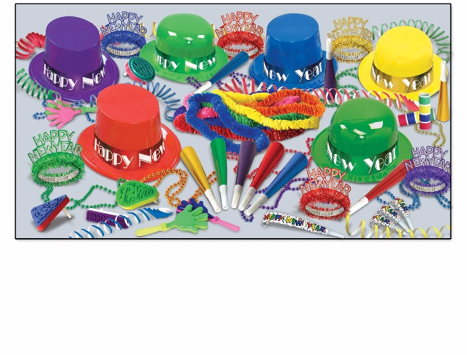 multi-color NYE party kit with a mix of top hats, derby hats, leis, beads, and noisemakers