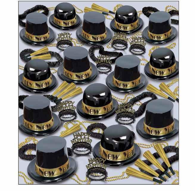 black and gold nye party kit that show a lot of plastic party hats, tiaras, horns, leis, and beads