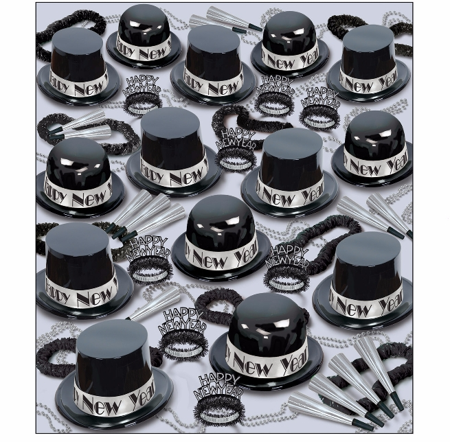 black and silver top hats, tiaras, noisemakers, and wearables all in one party kit