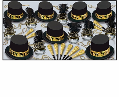 black and gold new years eve party kits with top hats and tiaras with black feathers