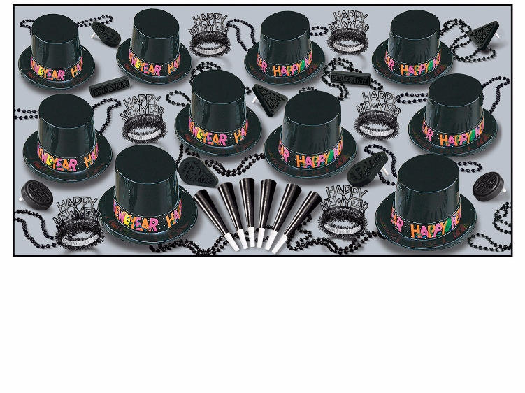 black NYE party kit with tiaras, party hats, beads, and noisemakers