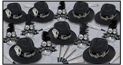 black and silver nye party kit with playing cards on the fedora hats and dice on the nye tiaras