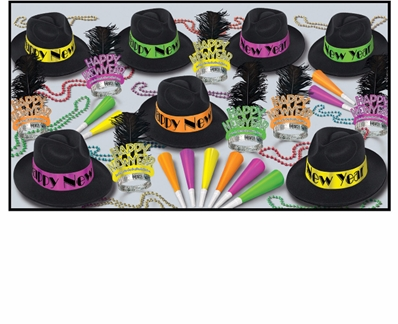 Neon Happy New Year party kit with fedoras, feathered tiaras, neon horns, and party beads