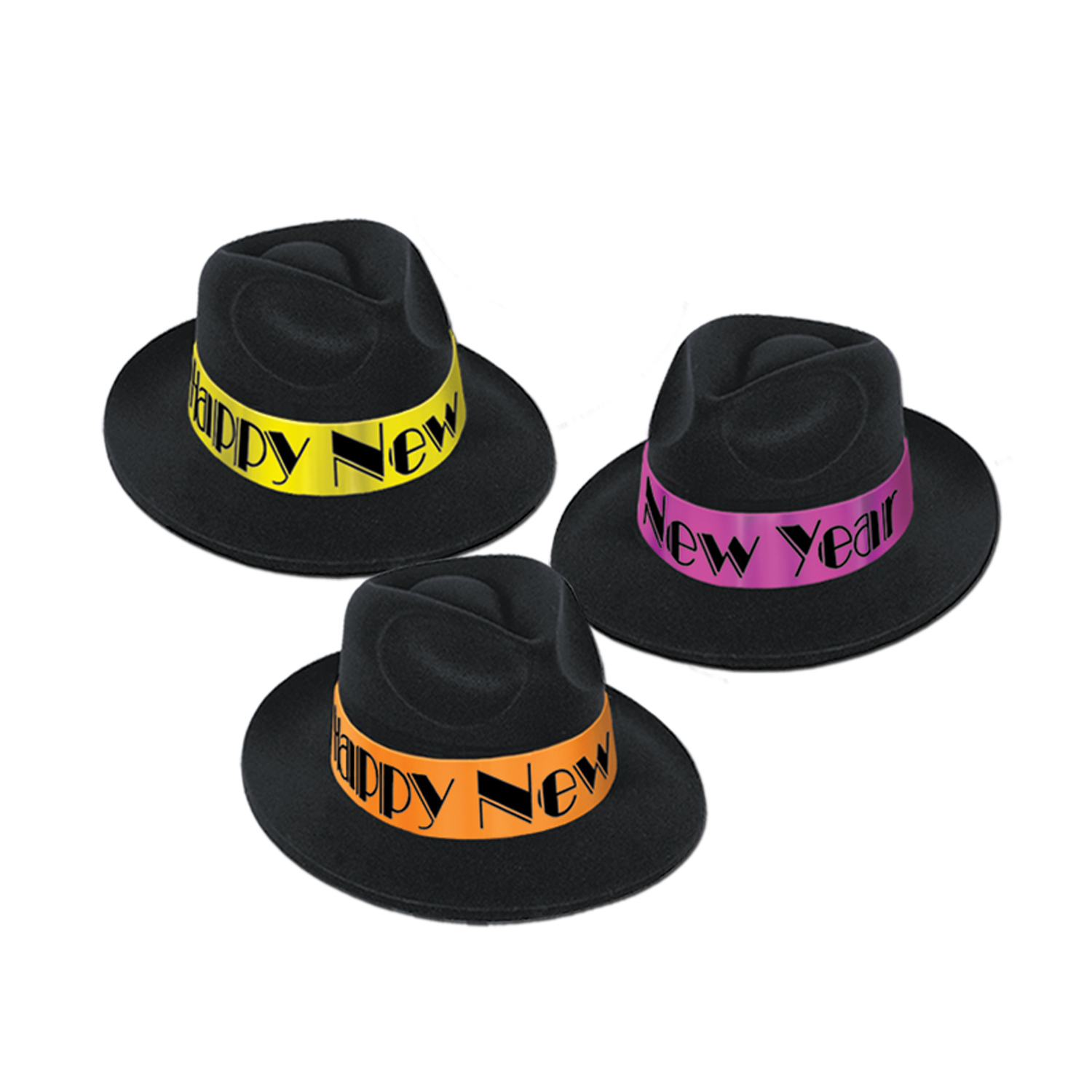 Black fedora with velour coating and neon orange, purple and yellow bands.