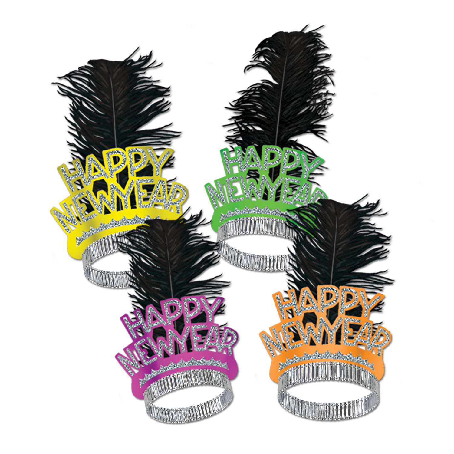 Neon Orange, pink, yellow and green tiaras with silver glitter and a black plume.