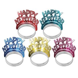 assorted colored Happy New Year tiaras