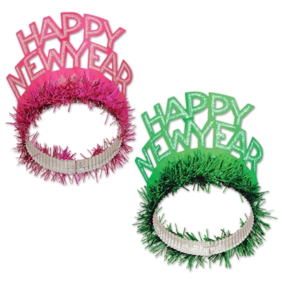 Pink and green happy new year regal tiaras  with silver glitter highlighting the lettering.
