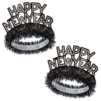 Tiara with black finge and black and silver Happy New Year with silver glitter accent.