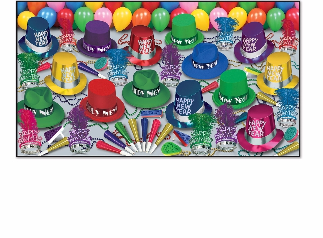 a large assortment of NYE party favors like top hats, balloons, noisemakers and tiaras