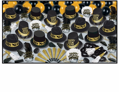large assortment of new years eve party supplies that includes black and gold party hats, balloons, tiaras, horns, and noisemakers