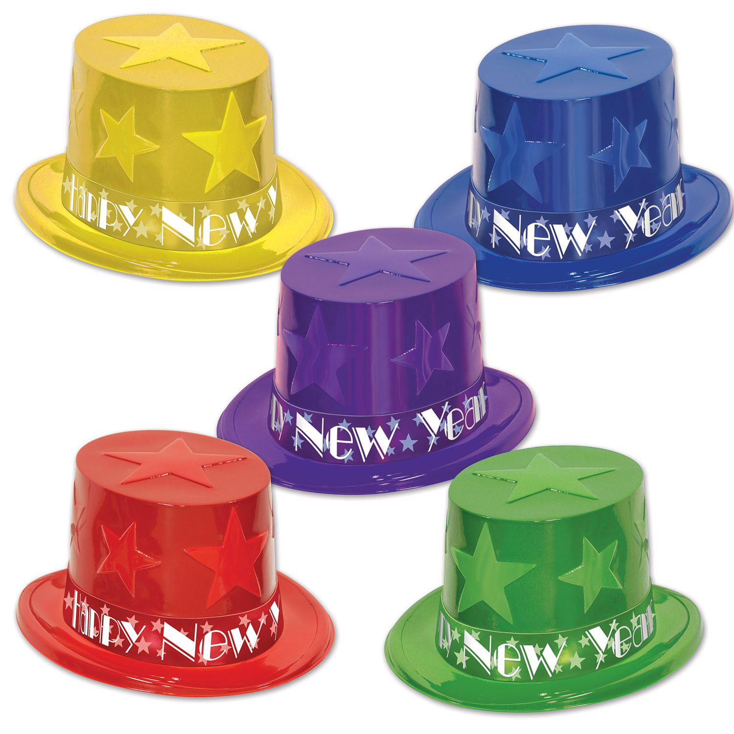 assorted color party top hats with stars on them with happy new year bands around the bottom