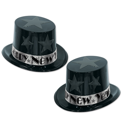 black and silver nye plastic top hats with stars in the design