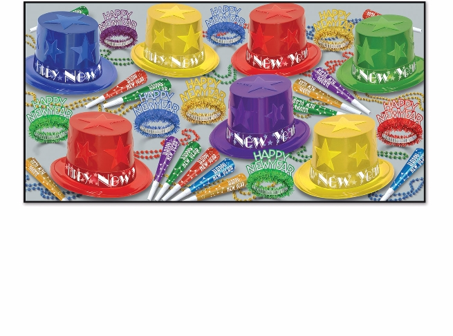 assorted colored nye party kit with 3-d stars on the hats and fringed tiaras, party horns, and beads