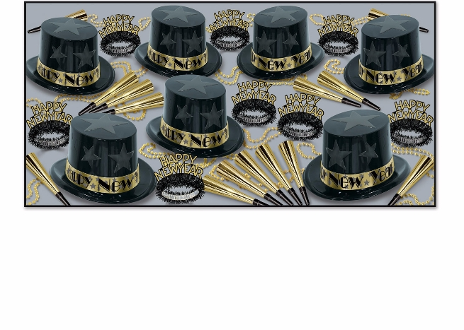 plastic new years eve party pack for 50 people with 3-d stars on the sides of the top hats