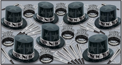 black and silver nye party kit with black & silver top hats, tiaras, horns, and beads