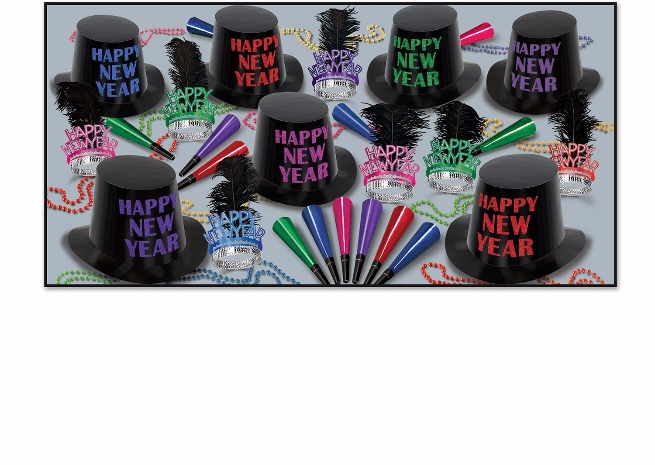 black nye party kit with bright colored accents on the hats and tiaras