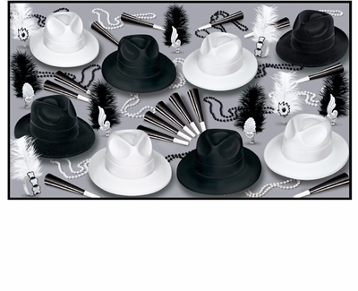 1920s themed new years eve party kit with fedoras and feathered tiaras